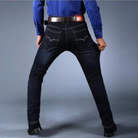 新品试促 秋冬男士弹力牛仔裤潮牌宽松直筒加绒
