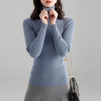 百搭厚半高领针织毛衣女