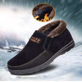 冬老北布鞋加绒保暖棉鞋男加厚防滑新款休闲中老年爸爸
