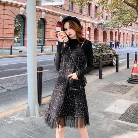 法式复古毛呢背带裙2019冬季新款小香风两件套