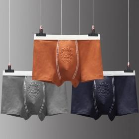 男士纯棉内裤平角裤三条盒装动物图案纯棉透气内裤