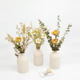 ins风简约粗陶瓷干花花瓶摆件