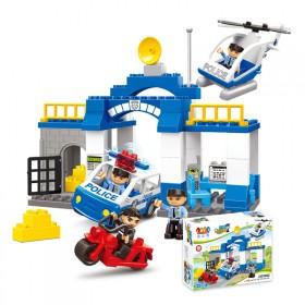 骏达隆儿童拼装积木益智城市系警察追捕大颗粒拼插玩具