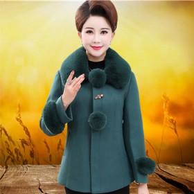 中年女呢子大衣富贵四五十岁妈妈冬装加肥加大毛呢外套