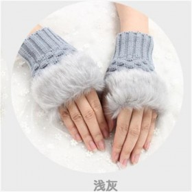 韩版秋冬季保暖 女士半指手套 毛绒加厚针织手套