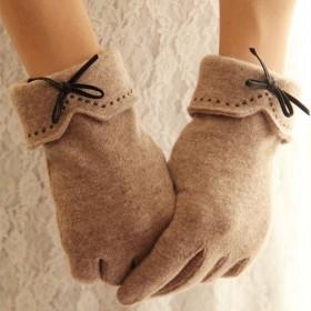 羊毛羊绒触屏刺绣皮质蝴蝶结女士分指保暖手套