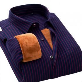 纯棉加绒衬衫男士长袖保暖