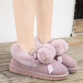 冬季新款时尚加厚面包鞋真皮加绒防滑东北棉鞋可爱雪地