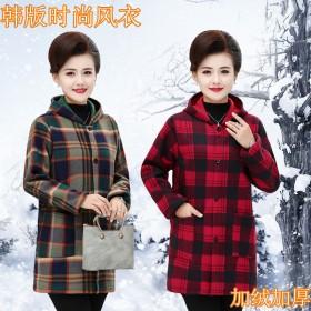 中老年女装秋冬装加大码罩衣妈妈装加绒