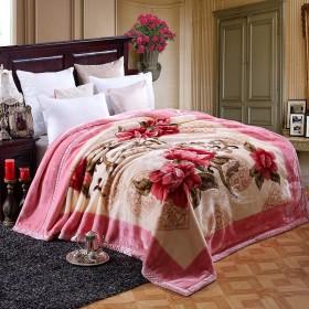 拉舍尔毛毯被子冬季盖毯婚庆双层加厚礼品云毯子