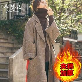 毛呢大衣女2019冬季加厚修身中长款学生呢子冬