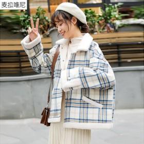新款冬季格子毛呢外套女短学生小个子气质宽松百搭潮羊