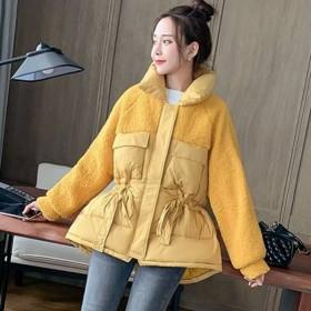 短款冬季系腰带收腰修身羊羔毛保暖棉衣学生休闲时尚显