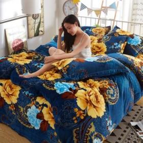 法兰绒四件套加厚双面绒珊瑚绒四件套床单被套三件套