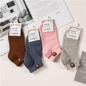 女士学生袜独立包装短筒彩色浅口女袜爆款小熊袜颜