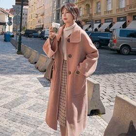 2019毛呢粉色大衣女中长款加厚加绒森系韩版百搭