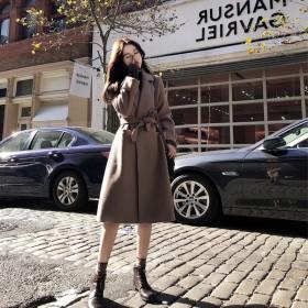 毛呢大衣女中长款学生韩版小个子森系过膝双面呢子外套