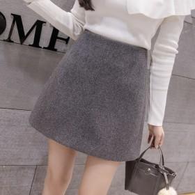 韩版高腰毛呢短裙女秋冬季新款半身裙
