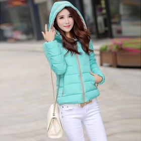 冬季新款女式羽绒百搭韩版修身短款棉衣 拼色长袖棉服