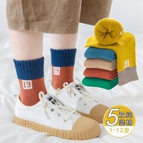 浓棉童袜秋冬儿童毛圈袜子加厚加绒保暖卡通毛巾袜中筒