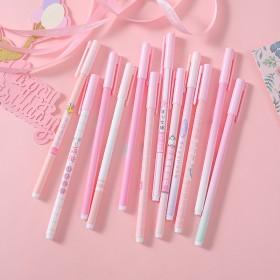 韩国创意文具粉色少女学霸中性笔可爱个性文字水笔签字