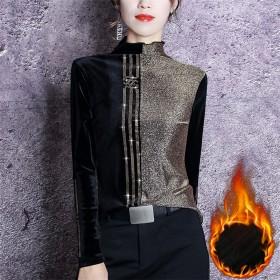 加绒/不加绒半高领打底衫女时尚新款洋气秋冬亮丝拼接