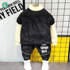 童装男童套装冬季2水貂绒毛衣6加绒加厚儿童冬装20