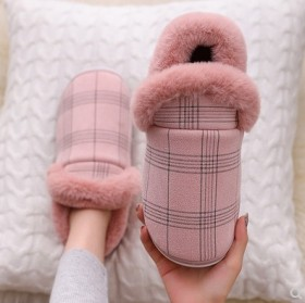 冬季格子磨砂绒室内外居家男女情侣保暖棉鞋