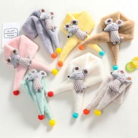 儿童围巾冬季仿兔毛加厚保暖毛绒可爱