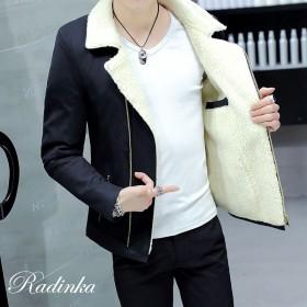 冬季毛领夹克棉服男短款棉衣加绒加厚棉袄学生冬装外套