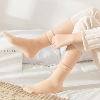 2双加绒雪地袜女生袜子男士中筒袜