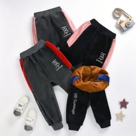 男童女童加绒裤子外穿加厚中小童洋气秋冬新款宽松一体