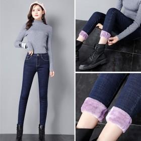 冬季牛仔裤女加绒高腰修身显瘦小脚高弹力新潮款牛仔裤
