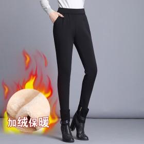 羊羔绒裤子女加厚外穿铅笔裤女2019新款高腰加绒黑