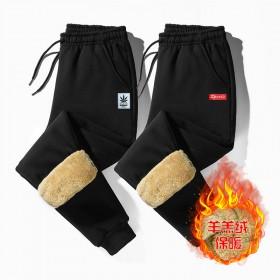 羊羔绒加厚冬季裤子男休闲运动裤男宽松男士束脚保暖卫