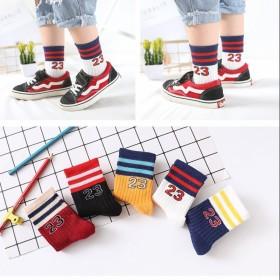 五双装秋冬款儿童袜子纯棉男女童中筒袜宝宝船袜