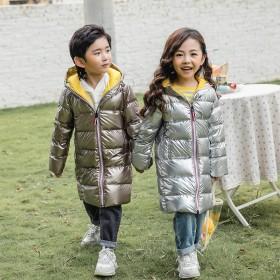 儿童羽绒服冬男童银色白鸭绒外套女童中长款加厚中大童
