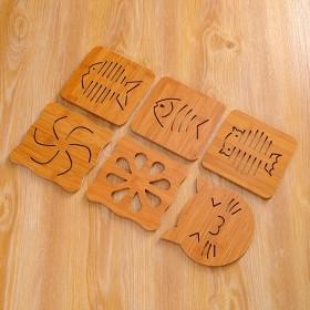 厨房竹木镂空木质杯加厚防烫卡通隔热餐桌防滑锅碗盘