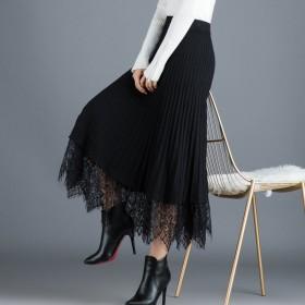 秋冬新款韩版半身裙蕾丝拼接黑色百搭中长款大摆裙
