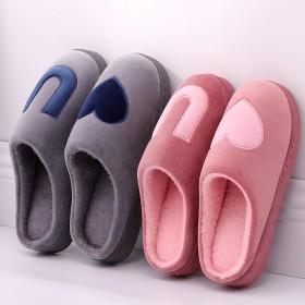 室内家用秋冬天情侣棉拖鞋男女防滑包跟加厚保暖简约毛