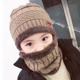 男女儿童帽子围脖加绒加厚保暖护耳时尚可爱两件套