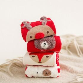 秋冬大红袜子卡通图案中筒袜子全棉女袜可爱日系圣4双