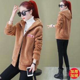 仿羊羔毛绒短外套女2019秋冬季新款韩版宽松开衫