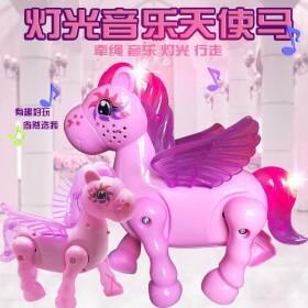 儿童玩具电动天使马女孩益智玩具电动动物灯光音乐牵绳