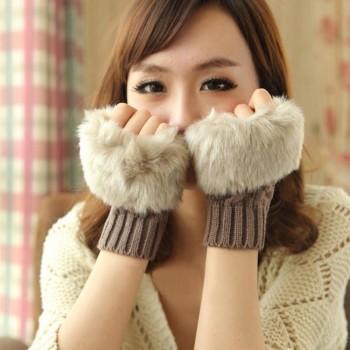 韩版秋冬季保暖手套女士半指手套毛绒加厚针织手套露