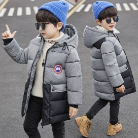 19新款中大童儿童拼色棉衣加厚冬季保暖连帽款童棉衣