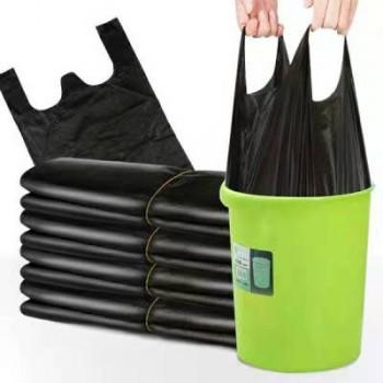 【手提式 加厚 垃圾袋】黑色背心式塑料袋50个
