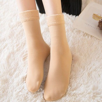 冬季加厚保暖毛袜子女中筒棉袜新款加厚加绒保暖长筒雪