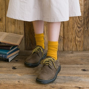 秋冬新款时尚女士袜子 双针竖条堆堆袜女 纯色中筒女