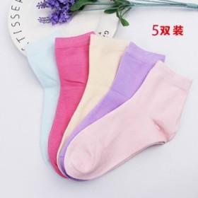 5双女士秋冬加厚中筒纯棉女袜子保暖纯色糖果色袜子
